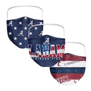 3 Pk. FANATICS Alabama Patriotic Face Masks NIP